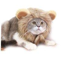 Смешная шляпа для домашних животных для маленьких собак кошек эмуляционные львиные волосы гривы уши головы шарф шарф хэллоуин фестиваль костюм костюм одежда