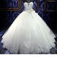 Chic Sweetheart Ball Gown Cinderella Wedding Dress for Sale Lace Appliques Major Beading African Wedding Dresses Cheap Sash Wedding Gowns