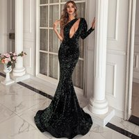 One Shoulder Long Sleeves Sequined Mermaid Evening Dresses Sweep Train Lace-up Back Formal Prom Party Gowns Special Occasions