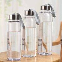 Nuevas botellas de agua portátiles de deportes al aire libre de plástico transparente transparente a prueba de fugas que lleva a impermeable para la botella de agua studen drinkware fy4507