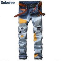 Wholesale- Sokotoo Men's casual patches holes ripped biker jeans for moto Fashion pleated patchwork slim straight denim pants Long trouse