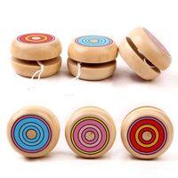 믹스 컬러 도매 100 개 아이 마술 요요 문자열 라운드 볼 스핀 스핀 전문 나무 장난감