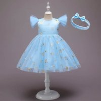 Girls Dresses Baby Girl Clothes Christmas Snowflake Mesh Skirt Children Princess Halloween Costume Kids Dress Headbands 2Pcs B7451