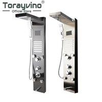 Torayvino LED 욕조 샤워 수도꼭지 온도 디지털 디스플레이 패널 바디 마사지 시스템 제트기 수건 열 욕실 세트