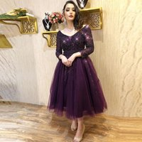 Perfect Handmade Beaded Prom Dresses V Neck Long Sleeves Vestidos De Fiesta A Line Tulle Tea Length Short Homecoming Party Bride Gowns
