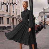 BerryGo Polka Dot Black Dress Elegante Mulheres Lanterna Sleeve Gravata Pescoço Vestidos Longos Primavera A-Linha Escritório Senhoras Vestido De Partido Vestido 210329