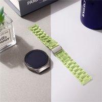 Bunte Acryl-Drei-Perlen-Falten-Verschluss-Uhr-Uhr-Bands-Handgelenkband für Samsung-Gang S2 Huawei gt Garmin 20 22mm für 40 44mm Apple Watch 3456