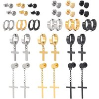 Stud 18 Pairs Stainless Steel Pendant Earrings Set Ring Cross Silver Gold Black Punk Style Suitable For Men And Women
