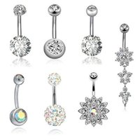 7pcs Set Exquisite Ziron Dangle Belly Button Rings Women Female Bar Oreja AB Color Navel Nail Piercing Body Jewelry