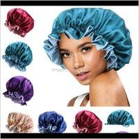 Other Toilet Supplies Bath Home & Garden7 Colors Fast Silk Night Hat Double Side Wear Women Head Er Sleep Cap Satin Bonnet For Beautiful Hair