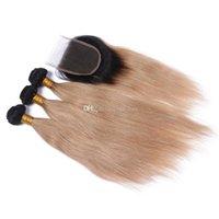 Honey Blonde Raíz Oscura Dark Silky Human Human Pein Bundles con cierre de ceniza Rubia 1b 27 Tejidos para el cabello con cierre de encaje superior 4x4
