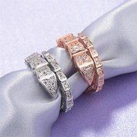 Moda Marca Marca Diamante de Mujeres Crystal Serpenti Anillo Apertura Ajustable Lujo Zircon Serpiente Anillo Joyería Regalo