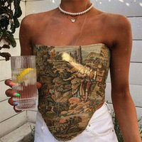 Women's Tanks & Camis Printted Corset Top Women Cyber Y2k Baby Tee Sexy Off Shoulder Baddie Clothes Night Club Indie Summer 2021 Streetwear