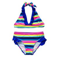 One-Pieces Baby Swimwear Teen Kids Girls Rainbow Striped Two-Pieces Swimsuit Bikini Outfit Clothes Beach Bathing Suit
