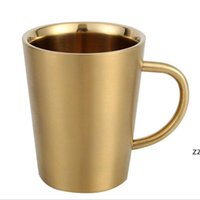newest insulated metal coffee mug 12oz copper beer cup stainless steel wine tumbler with handle 350ml HWF10498