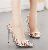 size 35 To 42 with box glitter clear heels silver crystal rhinestone designer high heels Designer Pumps Bridal Wedding Shoes 1001
