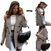 Womens Suits Blazers Women Spring-Autumn Vintage Tweed Jackets Office Ladies Chic Slim Girls