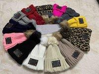 23 Color Europe Designer Unisex Autumn Winter Beanie Knitted Hats Hip Hop Men gorros Bonnet Women Leopard Beanies Fur Pompoms Warm Skull Cap