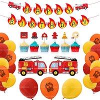 Party Decoration Creative Fire Truck Theme Birthday Balloon Set Pull Flag Cake Insert Card Children