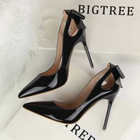 BIGTREE Shoes Patent Leather Women Heels Pointed Toe Woman Pumps Sexy High Heels 2020 Hot Bow-Knot Pumps Women Stiletto Ladies Y0611