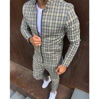 Yeni Moda Ceketler Erkekler Eşofman Setleri Erkek Set Renkli Ekose Erkekler Rahat Fermuar Seti Sonbahar Eşofman Erkek Kazak Cebi
