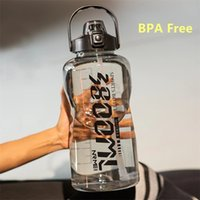 Water Bottle Sport 3.8L Half Gallon With Straw Handle Mark Fitness Jug A Free Travel Bicycle GYM Drinkware botella de agua 210908