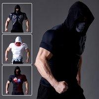 Medias para hombre fitness deportes bufanda con capucha manga corta ejercicio entrenamiento de ejercicio desgaste alto elástico de secado rápido de sol de sol tatuaje camiseta Tide SO SOC