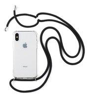 Kordon ile Temizle TPU Kılıfı Için iphone 12 11 Pro Max XS Max XR X 7 8 6 6 S Artı Kolye Omuz Kayışı Anti-Knock Arka Kapak