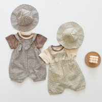 Clothing Sets 2021 Summer Born Baby Boy Clothes Set Toddler Short Sleeve T Shirt + Plaid Overalls Hat 3pcs Girl Suit