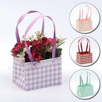 Motif de dentelle plaid de papier fleur emballage sac portable boîte rectangulaire rectangulaire de mariage bouquet de bouquet cadeau emballage emballage