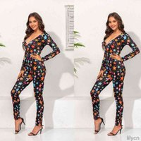 Women Sexy Long Sleeve Deep V-Neck Jumpsuit Colorful Five-Pointed Star Print Leggings Rompers Christmas Bodysuit