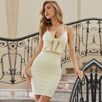 Adyce 2021 Summer Women V Neck Club Party Bandage Dress Sexy Spaghetti Strap Lace Mini Celebrity Runway Dresses Vestidos Casual