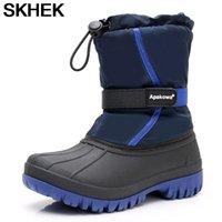 Девушки мальчик снежные ботинки водонепроницаемый нескользящий натуральный шерсть -30 градусов размером от 28 до 35 WallVell