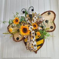 Christmas Decorations Spring Garland Bee Simulation Plant Home Decoration European And American Pastoral Style Wall Hanging Door