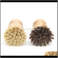 Household Tools Housekeeping Organization Home & Garden Style Kitchen Cleaning Short Handle Sisal Palm Bamboo Dish Brush Pot Brushes Factory