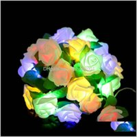 Flowers Wreaths Festive Supplies Home & Garden20 Artificial Rose Window Curtain Lights String Lamp Party Decor Beads Garden Stage Outdoor De