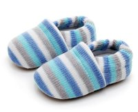 Winter Baby Shoes Strip Crochet Knit Fleece Boots Toddler Girl And Boy Indoor Soft Soled Keep Warm First Walkers