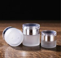 Frosted Glass Jar Cream Bottles Round Cosmetic Jars Hand Face Bottle 20g-30g-50g with Gold Silver White Acrylic Cap PP liner