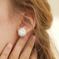 Coeufuedy Classic Big Pearl Stud Earring Baroque Freshwater Pearl Earrings For Women Party Wedding Gift Fine Jewelry Handmade J0508