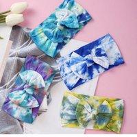 20PCS Kids Girls Tie Dye Headbands Baby Newborn Big Bow Bowknot Hairbands Soft Nylon Elastic Hair Wrap Wide Band Head band Accessories LY6801
