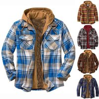 Men's Jackets Shirts Autumn Fashion Casual Plaid Long Sleeve Cotton High Quality Pullover Hooded Shirt Winter Mens Top Blouse 21