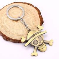 애니메이션 시리즈 원피스 Luffy 밀 짚 모자 해적 해골 열쇠 고리 금속 열쇠 고리 팬 코스프레에 대 한 키 링