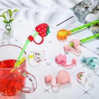 Creative Silicone Straw Tips Cover Reusable Drinking Dust Cap Splash Proof Plugs Lids Anti-dust Tip for 7-8 mm Straws DWF6705