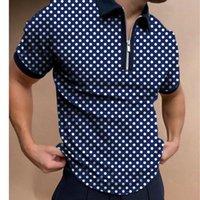 الرجال بولو أزياء خليط البولكا نقطة الرجال قصيرة الأكمام قمصان عارضة بدوره أسفل طوق سستة تصميم قمم 2021 الصيف المتناثرة الشوارع