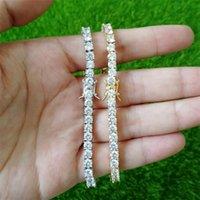 4 mm 7 pulgadas 8 pulgadas Hombre con hielo Out Cubic Zirconia Pulsera Bling 1 Fila Pulsera de tenis HIPHOP Jewelry Shine Triple Bloqueo Cierre de brazaletes 163 R2