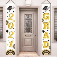 Bandiere del partito di laurea - 2021 Banner di laurea - Classe di 2021 Congratulazioni Grad - Bandiere appese Bandiere del portico Segno all'aperto Home Door Décor Décor CPA3280