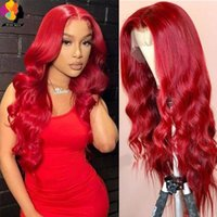 Lace Wigs Remyblue Red Color Body Wave Front Human Hair For Woman PrePrulcked 13*1 Transparent Remy Brazilian