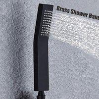 Высокое давление с твердой латунью ручной душевой душевой головкой, обличный распылитель настенный настенный ванная система современный квадратный стиль матовый черный