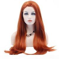 오렌지 레이스 프론트 가발 내열성 섬유 합성 긴 자연 직선 자연 hairline 합성 머리 오렌지 가발 백인 여성