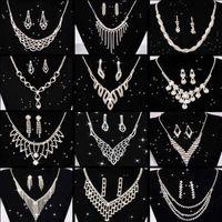 Jewelry Sets Luxury designer Bracelet Wedding Jewellery Set Crystal Bridal For Women Long Tassel Statement Necklace Earrings Silver Plated G